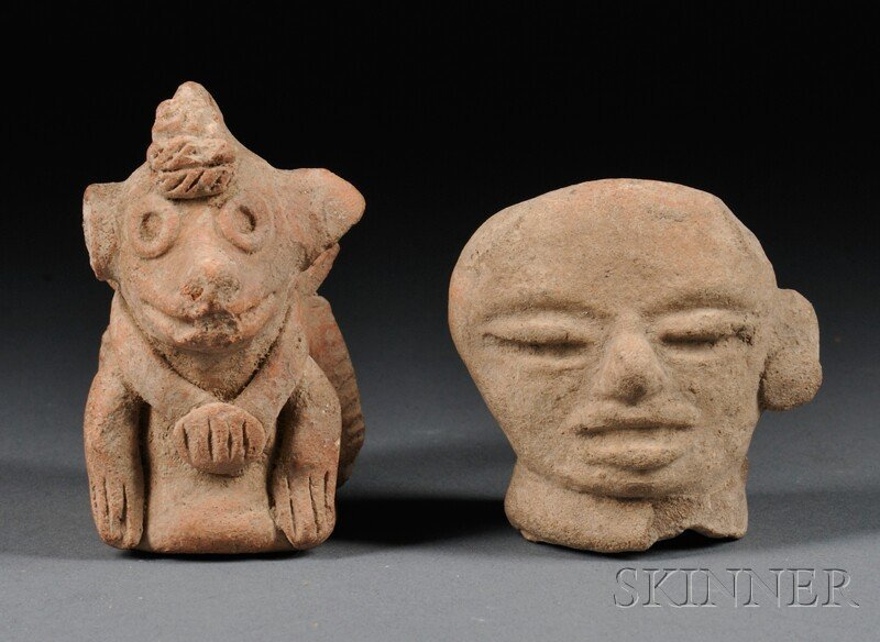 2: Pre-Columbian Clay Animal Figure and a Figural Fragm