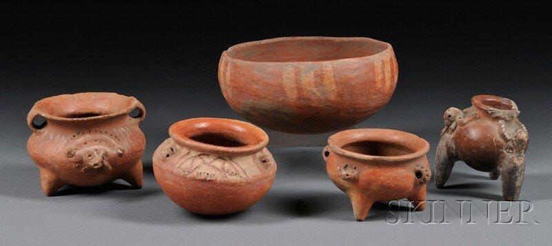 4: Five Central American Pre-Columbian Vessels, (damage