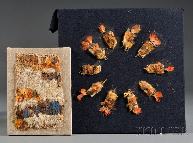 10: Two Panels of Pre-Columbian Feather and Textile Ite