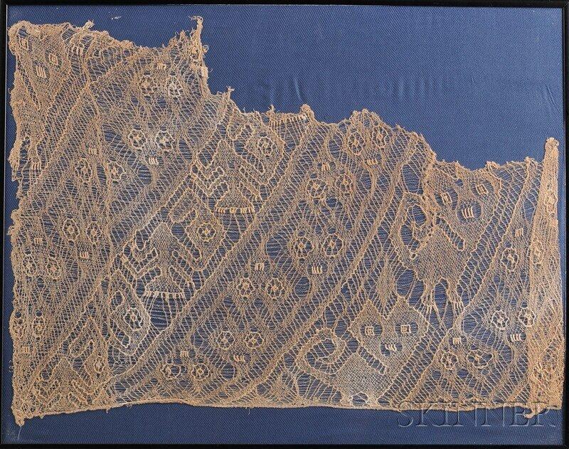 13: Peruvian Pre-Columbian Net Weave Textile Fragment,