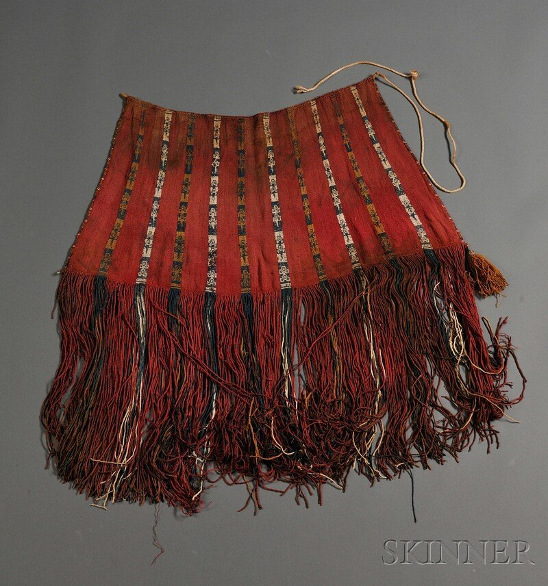 17: Large Chancay Multicolored Fringed Carrying Bag, ve