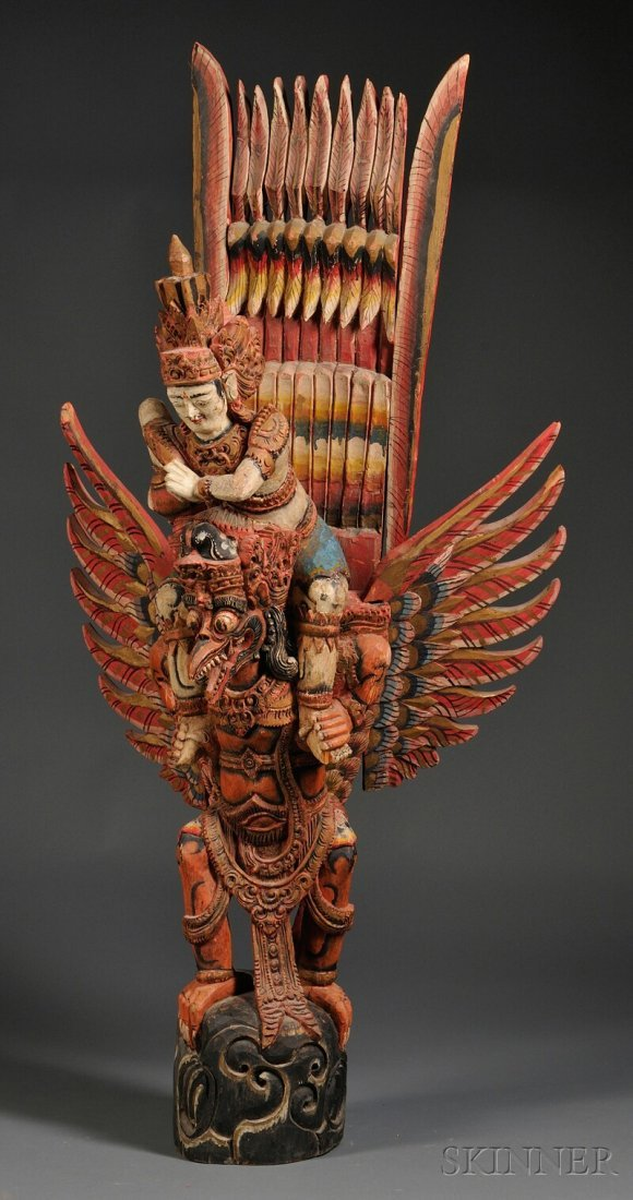 19: Polychrome Carved Wood Garuda Figure.