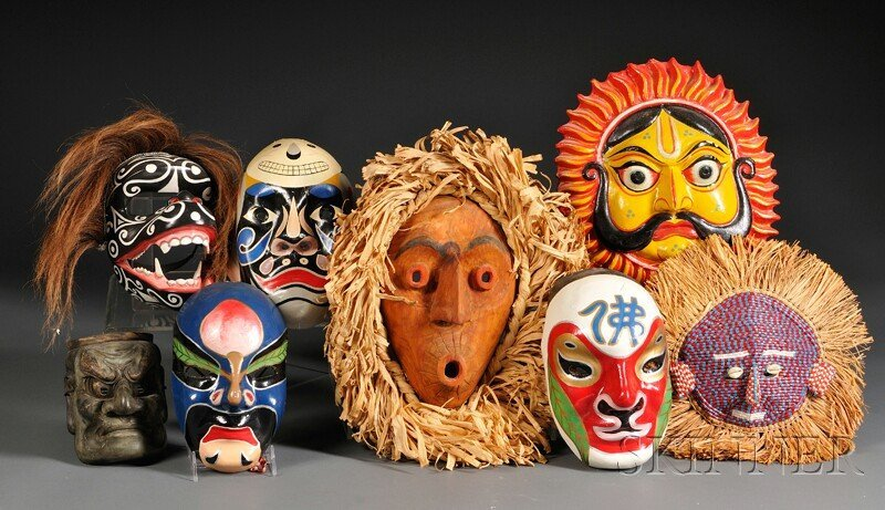 20: Eight Miscellaneous Masks, includes four polychrome