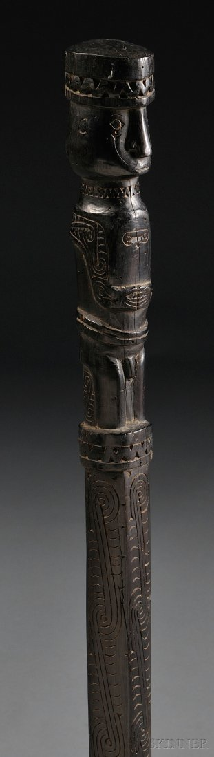 23: Massim Staff, with stylized human finial, lg. 35 in