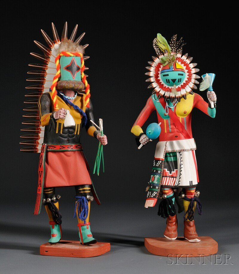 139: Two Polychrome Carved Wood Kachinas by Henry Shelt