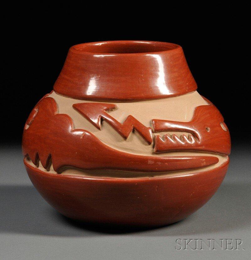 "361A: Santa Clara Bowl, with deeply carved ""Avanyu"" des"