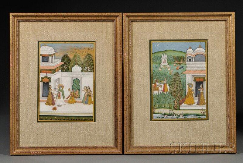 2: Pair of Miniature Paintings, India, 19th century, go