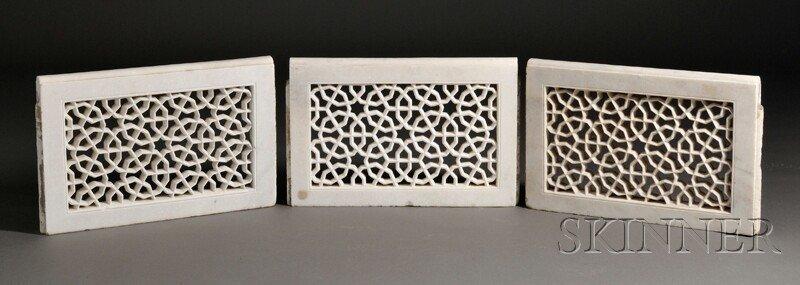 13: Three White Marble Mashrabiya Element, India, recta