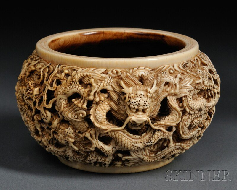 104: Ivory Water Coupe, China, 19th century, circular,