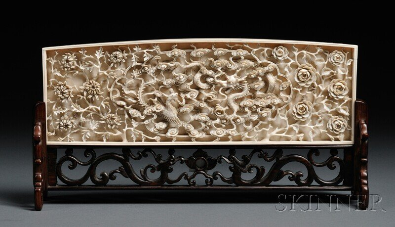 116: Ivory Plaque on Wood Stand, China, 19th century, c