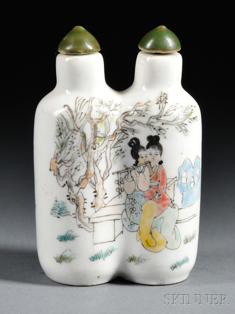 445: Famille Rose Twin Snuff Bottle, China, 20th centur