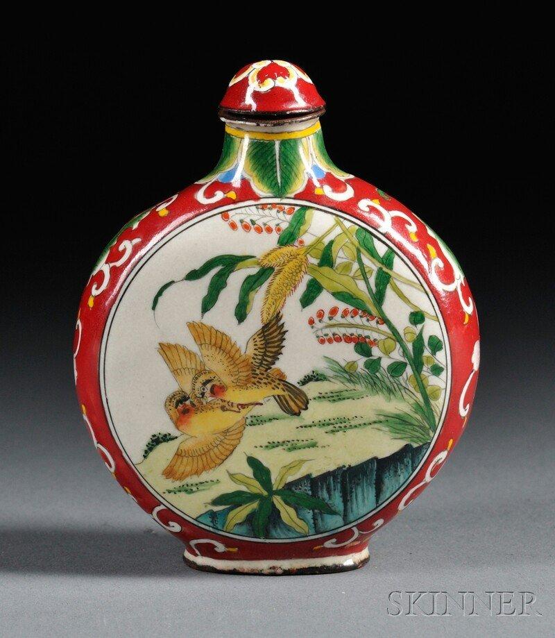 447: Enameled Snuff Bottle, China, 19th century, flatte