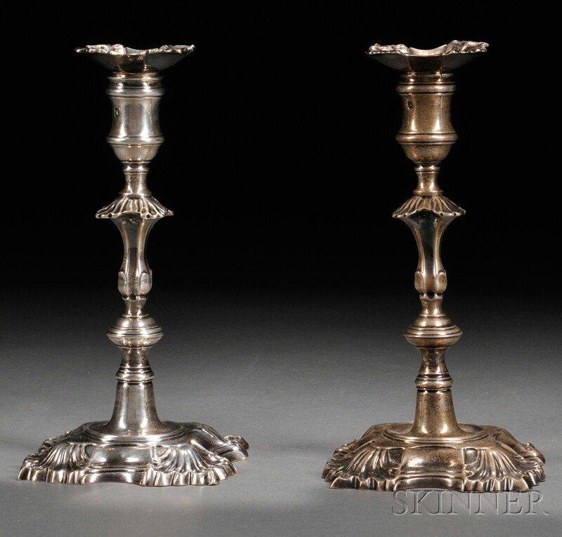 4: Harlequin Pair of Georgian Silver Candlesticks, Lond