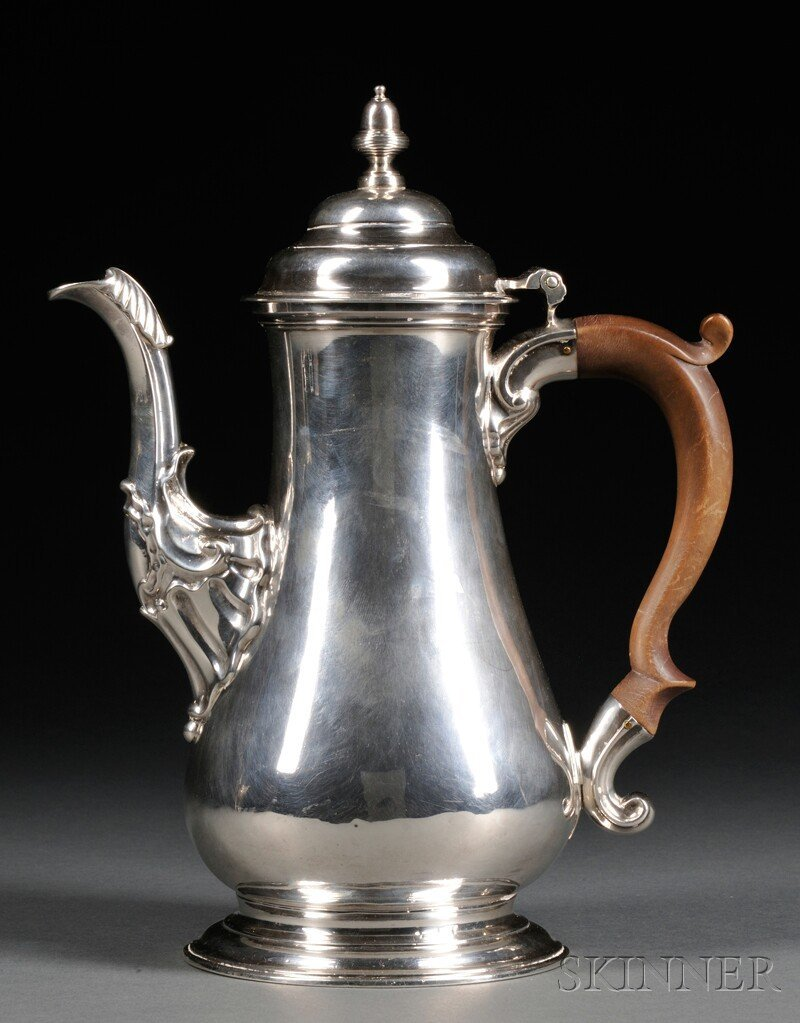 8: English Sterling Silver Coffeepot, London, 1756, Wil