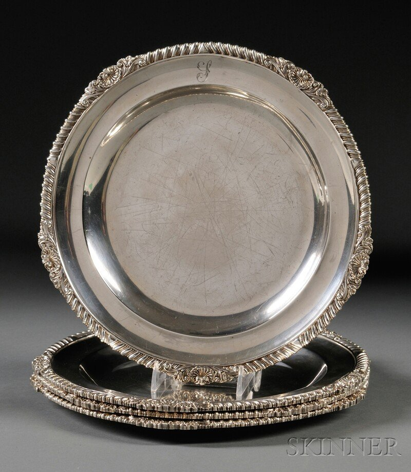 12: Four George III Silver Meat Plates, London, 1818, R