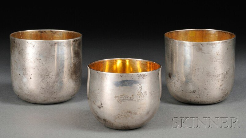 13: Three Sterling Silver Punch Cups, London, late 18th