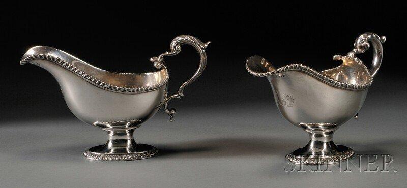 18: Pair of English Silver Sauceboats, London, 1775-76,