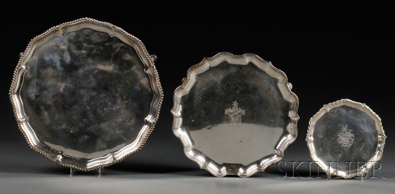 19: Three Silver Salvers, one made in London, 1777, Joh