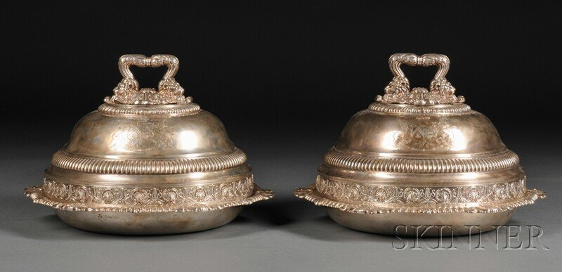 21: Two Assembled English Silver Tureens, London, 1786,