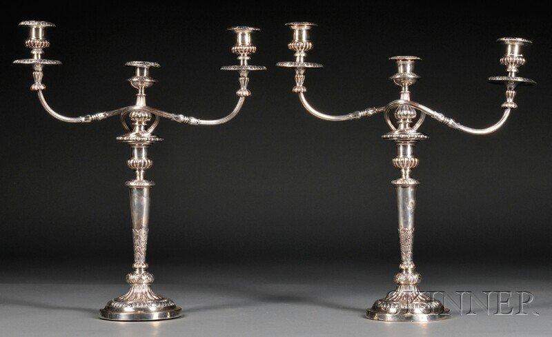 22: Pair of Silver-plated Three-arm Candelabra, Birming