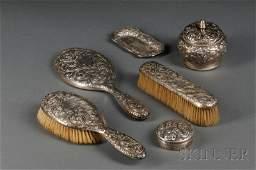 224: Six-piece Gorham Sterling Silver Repousse Dresser
