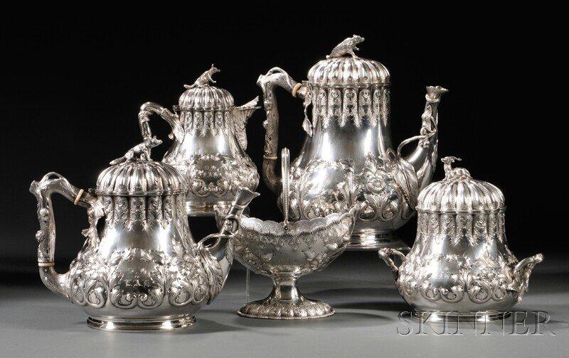 234: Five-piece Sterling Silver Grosjean & Woodward Tea