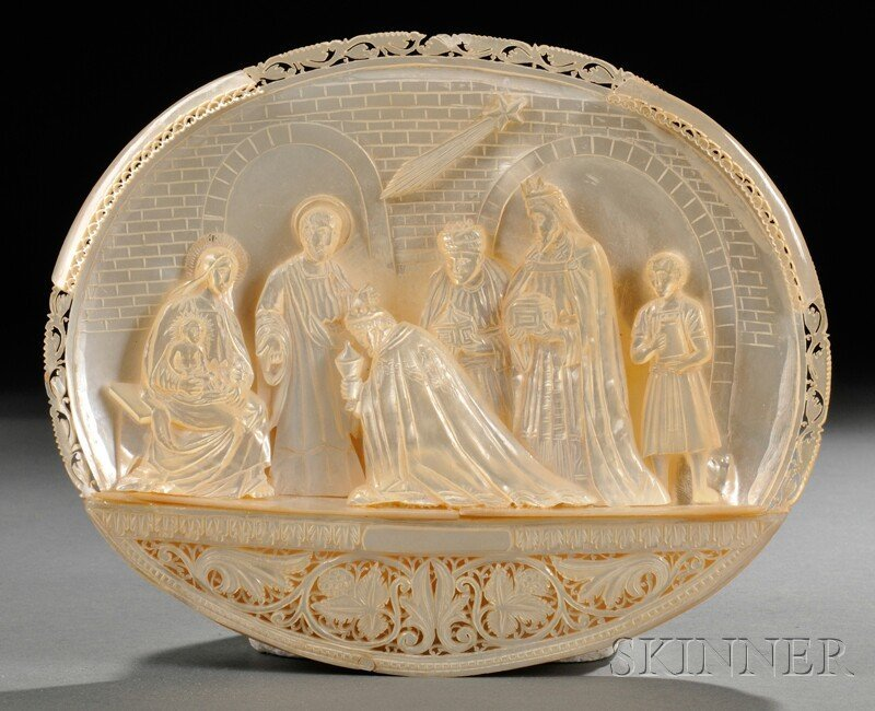 775: Carved Mother-of-pearl Nativity Scene,