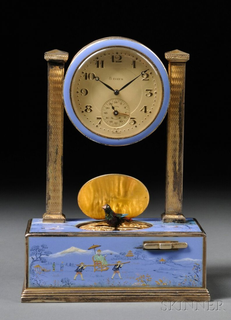 884: Enameled Automaton Alarm Clock, clock face encircl