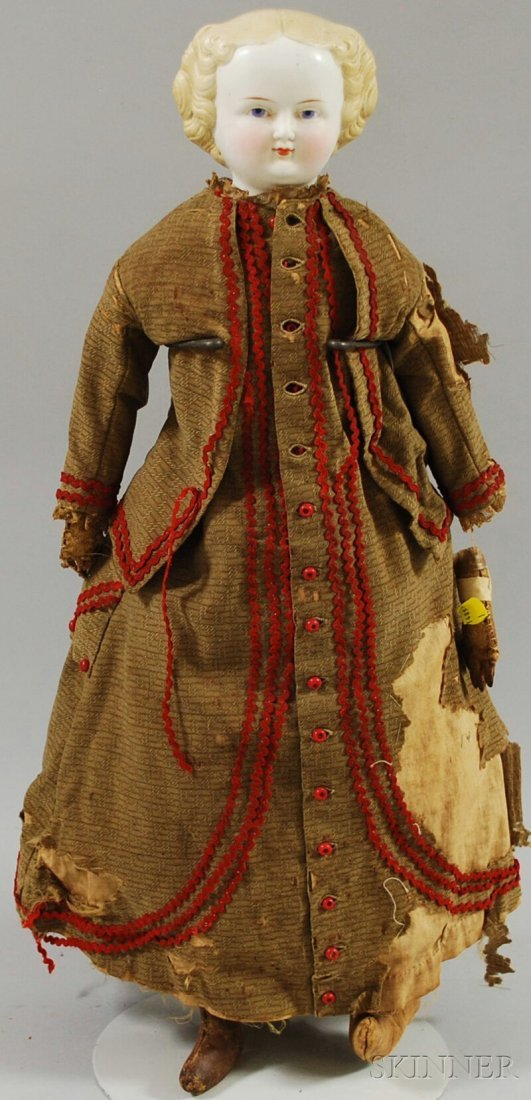 3: Blonde Parian Shoulder Head Doll, Germany, c. 1860s,