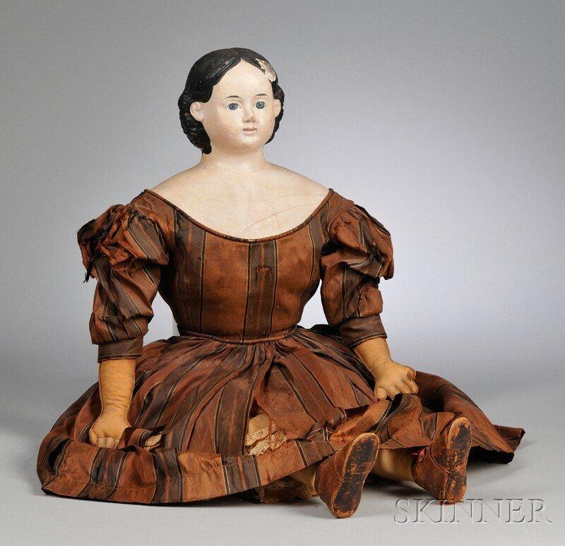 6: Large Papier-mache Greiner Doll, 1858 label, cloth b