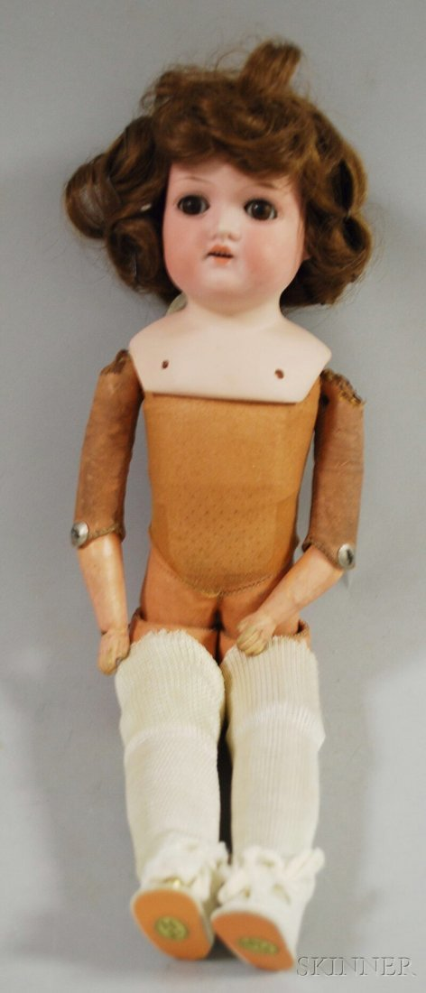 7: Bisque Shoulder Head Doll, Germany, marked AM 370, b