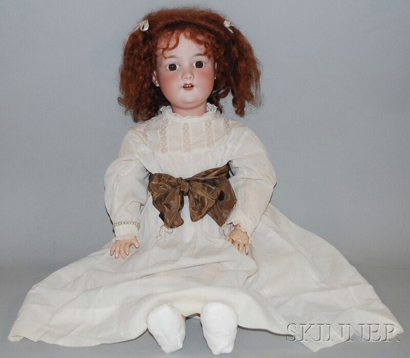 13: Large AM 390 Bisque Head Doll, Germany, brown eyes