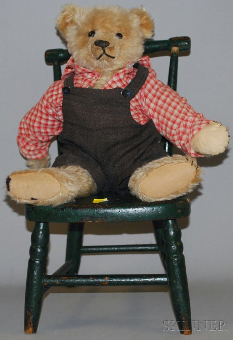 14: Pale Blonde Mohair Bear with Chair, Germany, probab