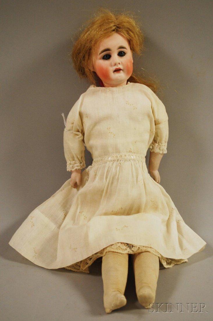 15: Swivel Neck Bisque Head Doll, Germany, blue sleepin