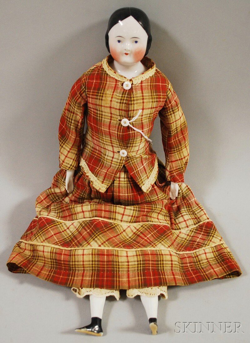16: China Shoulder Head Doll, Germany, 1850s, center-pa