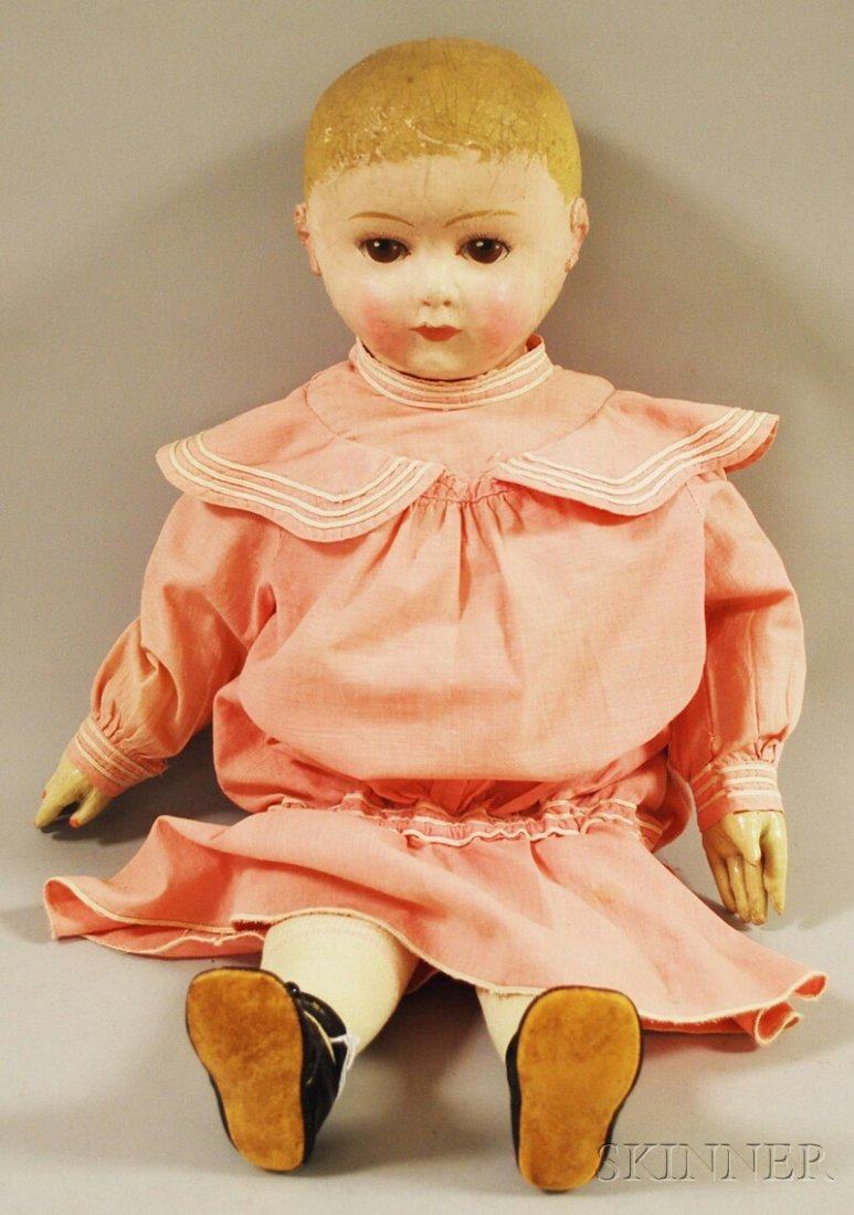 17: Large Rollinson Molded Cloth Doll, Utley Doll Co.,