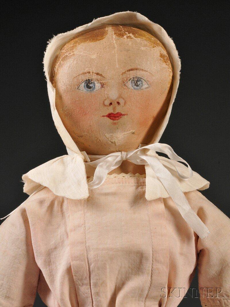 20: Maggie Bessie Painted Cloth Doll, Salem, North Caro