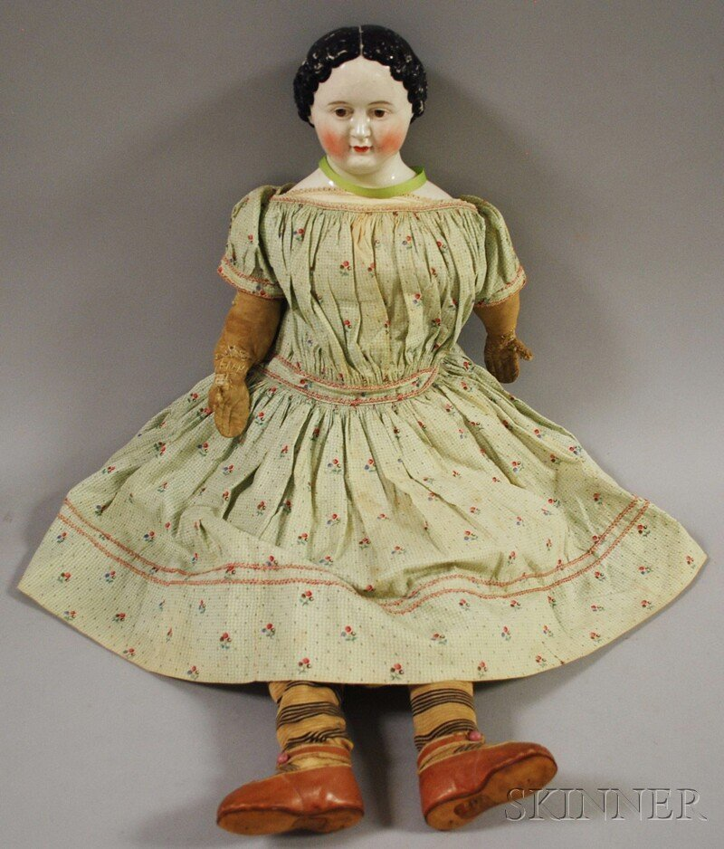 21: Large Brown-eyed China Doll, Germany, c. 1860, ligh