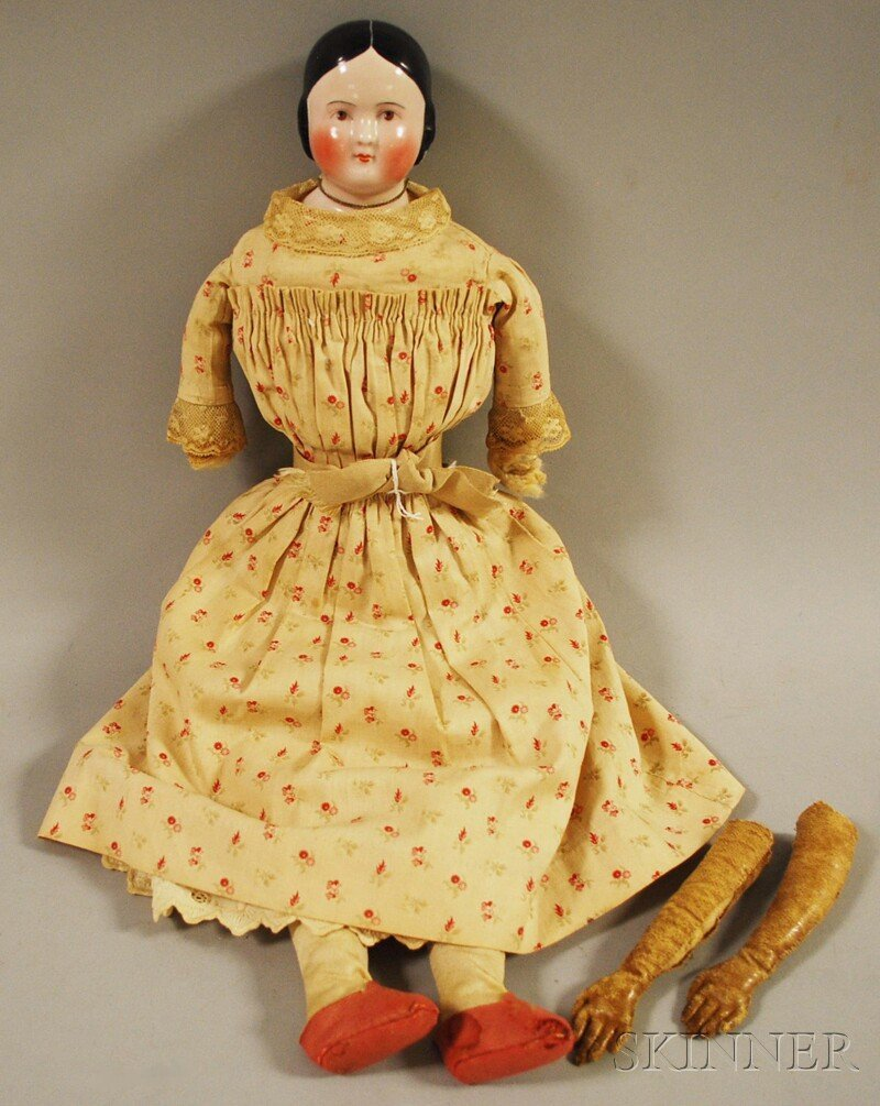 22: Pink-tint China Shoulder Head Doll with Brown Eyes,