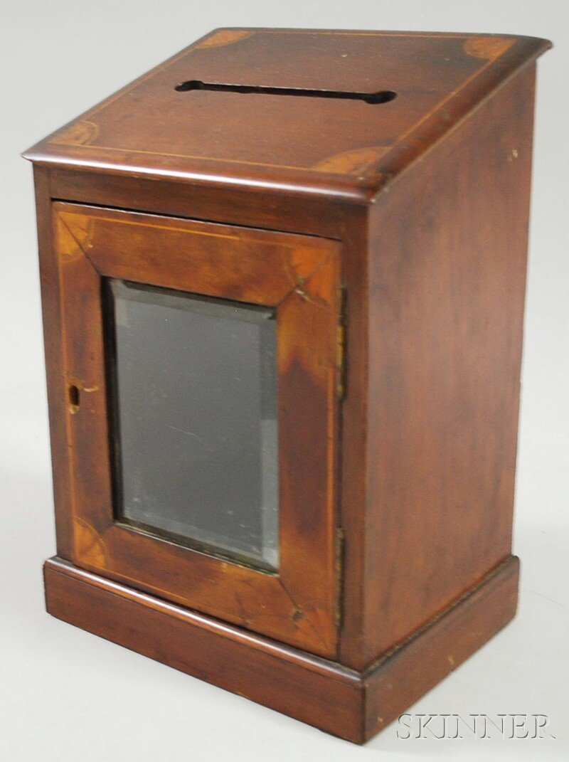 335: Inlaid Wooden Letter Box, with beveled glass-panel