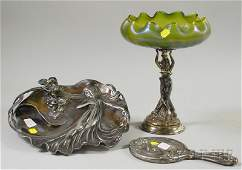390 Art Nouveau Silverplated Cast Metal Figural and I