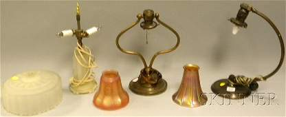 402: Three Assorted Small Lamps, a frosted molded glass