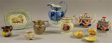 648: Eleven Pieces of Assorted English Decorated Cerami