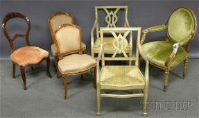 1028 Six Assorted French Chairs a pair of French prov