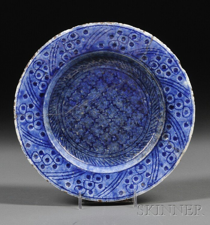 3: Pottery Plate, Persia, possibly 17th century, carved