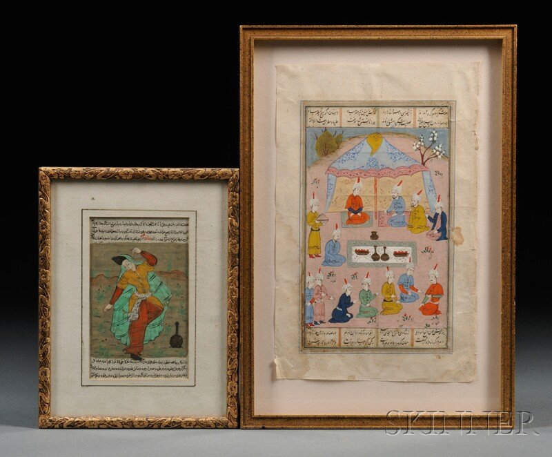 4: Two Framed Paintings, Persia, ink and color on manus
