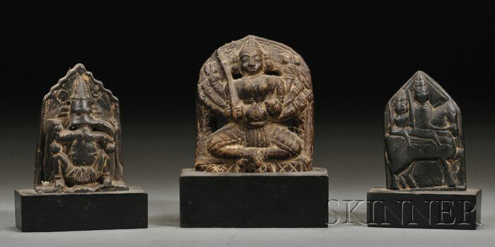 10: Three Carved Stone Stelae, India, 19th century, fig