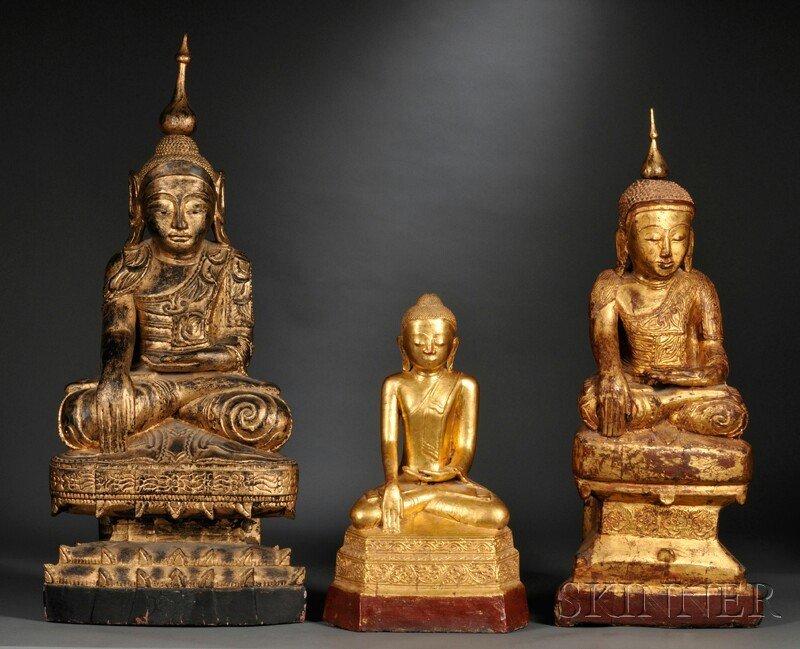 15: Three Giltwood Figures, Thailand/Myanmar, each depi