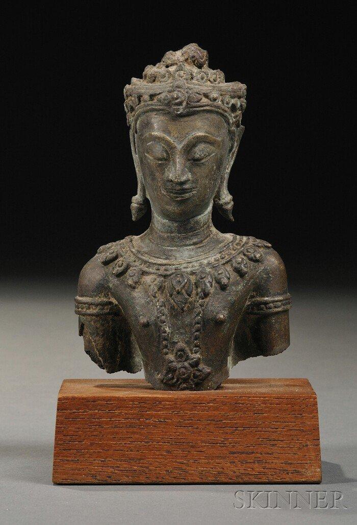 16: Bronze Bust, Thailand, bronze bust of the Buddha, w