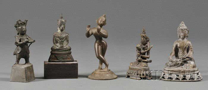 17: Five Bronze Divinities, two from Nepal, a Thai seat
